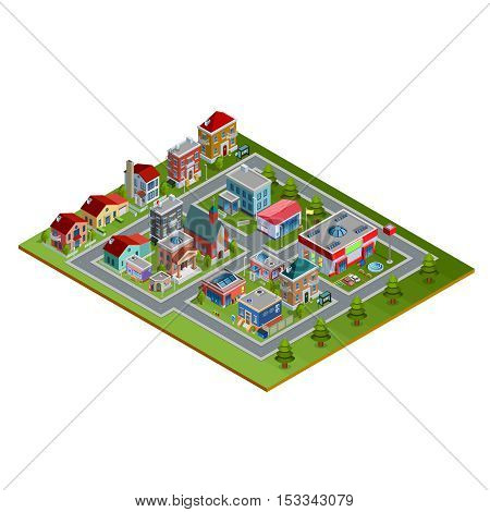 Isometric cityscape with low-rise houses historic buildings church stores and fir trees along roads on white background vector illustration