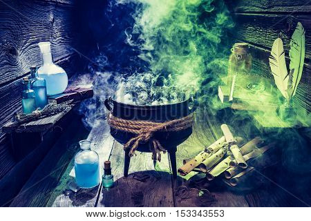 Magical Witcher Cauldron With Blue And Green Smoke For Halloween