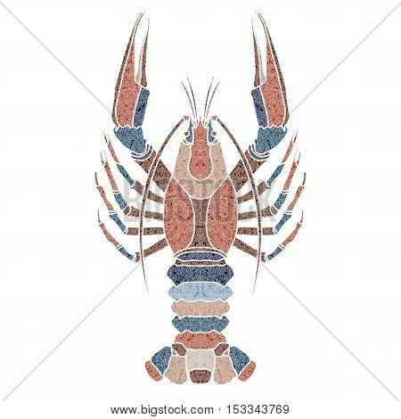 Bright patterned crayfish, zodiac Cancer sign for astrological predestination and horoscope