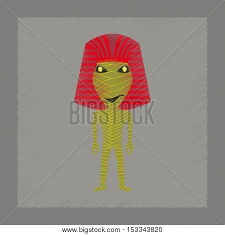 flat shading style icon of mummy halloween monster