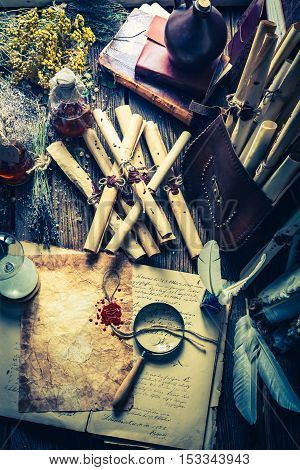 Magical Witcher Labolatory Full Of Scrolls And Recipe