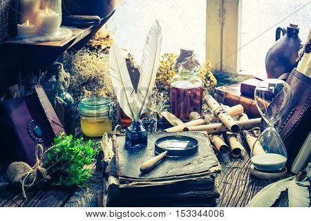 Witch Workshop Full Of Books And Recipe