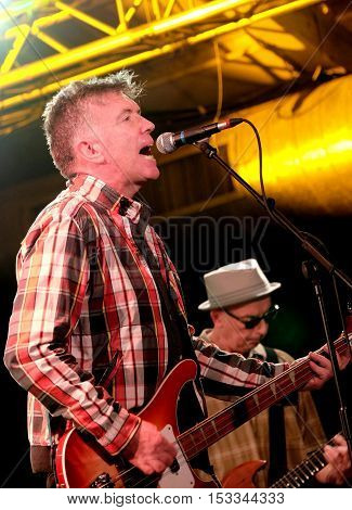 SOUTHAMPTON, UK, October 20 2016:  Guitarist Mickey Bradley  performing with Irish band The Undertones at the Engine Rooms, Southampton, Hampshire UK
