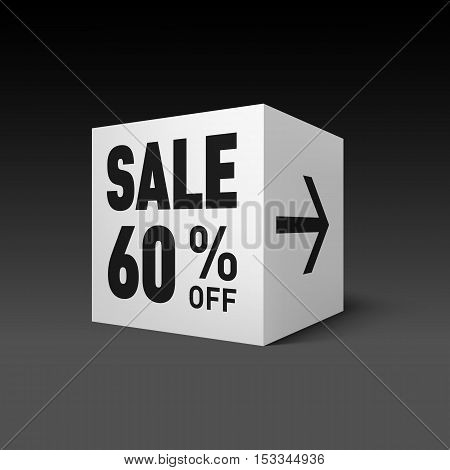 Cube Banner Template for Holiday Sale Event. Sixty Percent off Discount