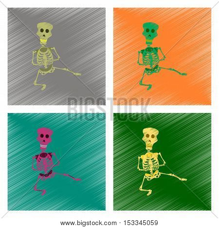 assembly flat shading style icon of skeleton Halloween monster