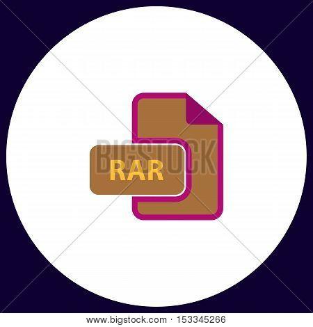 RAR Simple vector button. Illustration symbol. Color flat icon