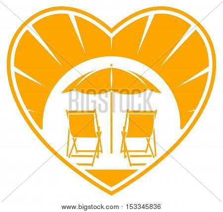 vector deck chairs under beach umbrella in heart isolated on white background