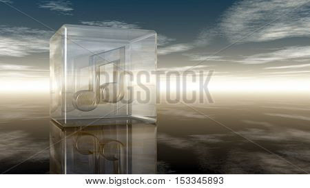 music note in glass cube under cloudy sky - 3d rendering