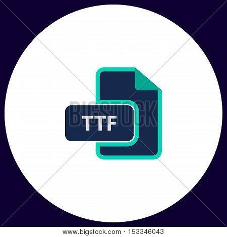 TTF Simple vector button. Illustration symbol. Color flat icon