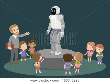 Innovation education elementary school learning technology and people concept - group of kids looking to carbon robot lesson future. Vector
