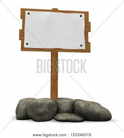 wooden sign and stones - 3d illustration