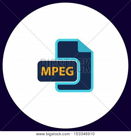 MPEG Simple vector button. Illustration symbol. Color flat icon