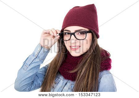 Portrait Of Young Woman In Winter Clothes And Glasses Isolated On White