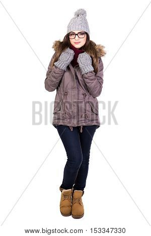 Full Length Portrait Of Young Woman In Winter Clothes And Glasses Isolated On White