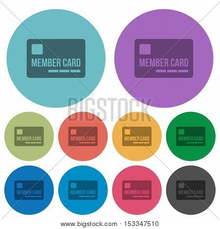 Member card flat icons on color round background.
