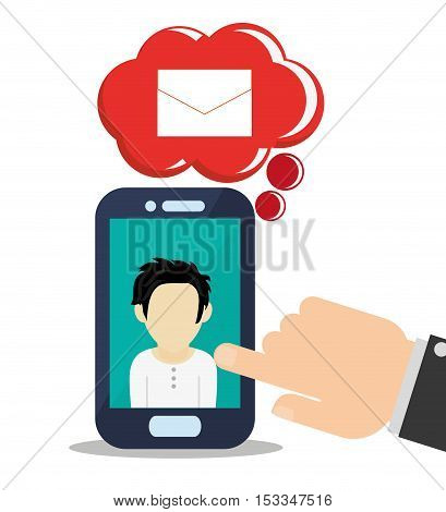 Man avatar inside smartphone icon. Social media multimedia communcation and digital marketing theme. Colorful design. Vector illustration
