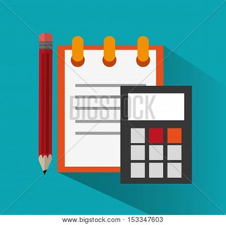 Notebook and pencil icon. Office work supplies and objects theme. Colorful design. Vector illustration