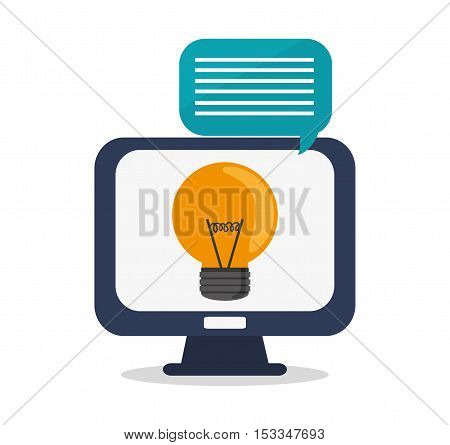 Computer and bulb icon. Social media multimedia communcation and digital marketing theme. Colorful design. Vector illustration
