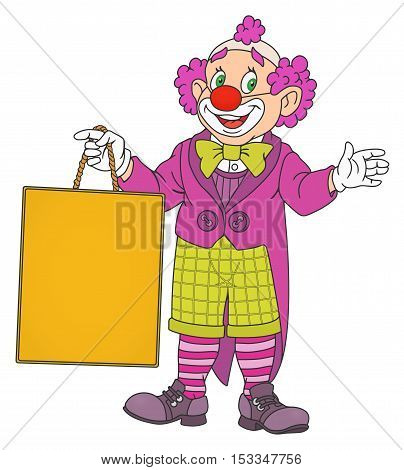 Illustration of Clown with blank board in his hand