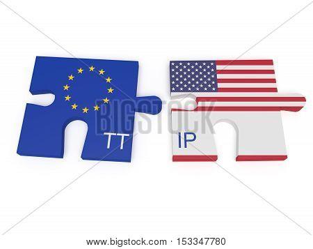 TTIP: EU and US Flag Puzzle Pieces 3d illustration