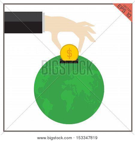 money world global vector earth illustration philanthropy