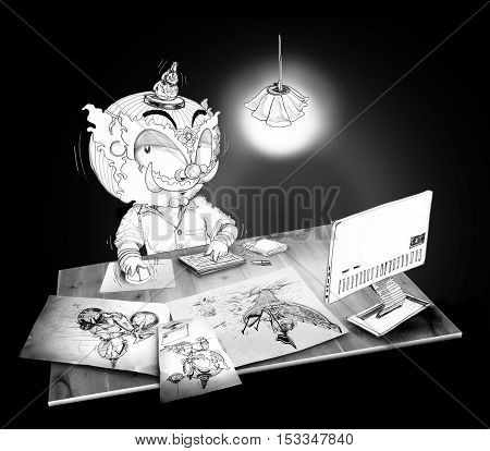 Thai Giant squint eye and Click mouse working computer He working on line at night times in his office room with antique lamp on desk has pen paper and note book on real wood desk