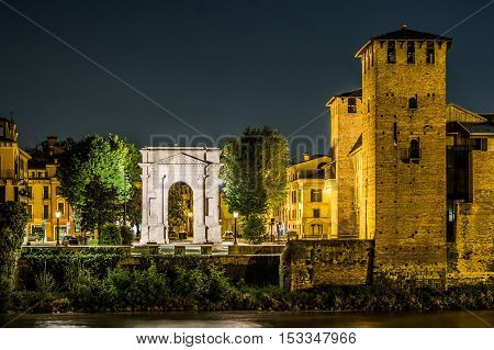 Castle Vecchio at summer night in Verona, Italy. Beautiful travel photo of Italy.