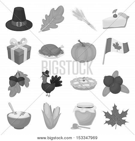 Canadian Thanksgiving Day set icons in monochrome style. Big collection of canadian Thanksgiving Day vector symbol stock