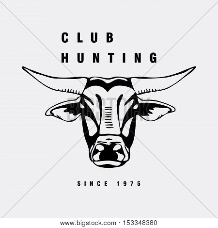 Logo, symbol, sign, stencil bull head.Unique technique. Vintage hand drawn style