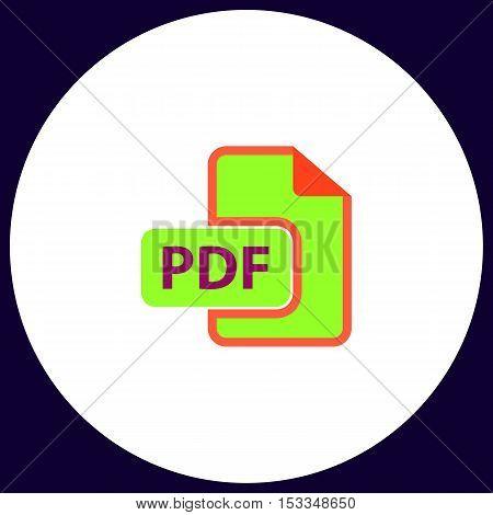 PDF Simple vector button. Illustration symbol. Color flat icon