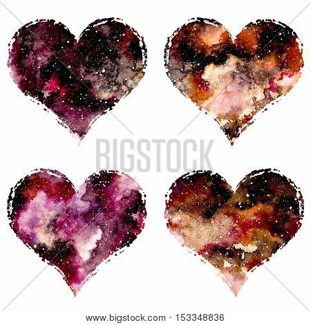 Set of Watercolor Hearts with Colorful Galaxy and Starry Sky