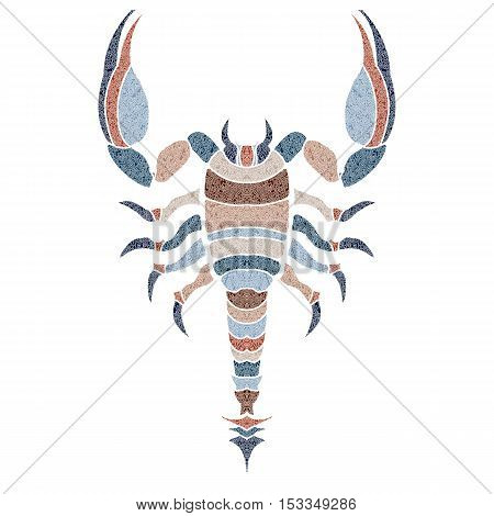 Bright patterned scorpion, zodiac Scorpio sign for astrological predestination and horoscope