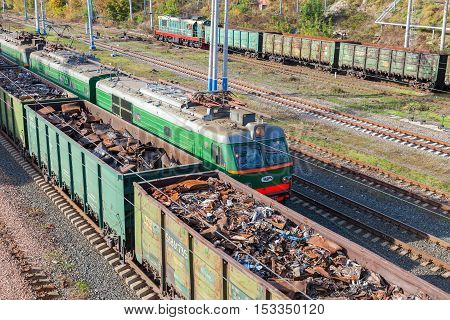 SAMARA RUSSIA - OCTOBER 8 2016: The railway freight wagons. Trains of the Russian Railways company (RZhD)