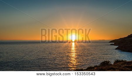 Sunset against the backdrop of the Atlantic Ocean in France