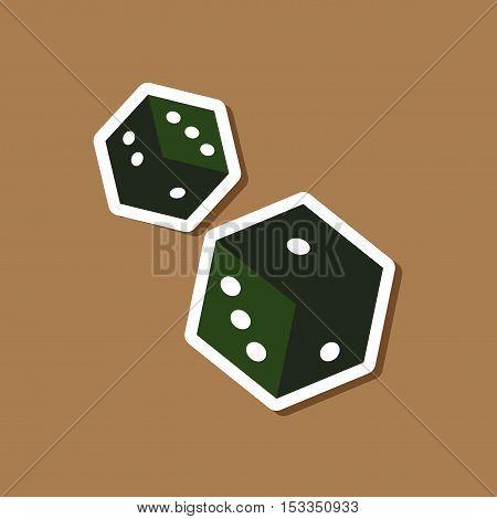paper sticker on stylish background of poker dice lucky