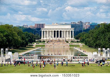 WASHINGTON D.C.,USA - AUGUST 14,2016 : View of the National Mall in Washington D.C. with the Lincoln Memorial and the Reflecting Pool