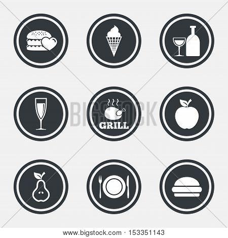 Food, drink icons. Grill, burger and ice cream signs. Chicken, champagne and apple symbols. Circle flat buttons with icons and border. Vector