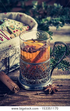 Warming Aromatic Tea In Christmas Evening With Cookies