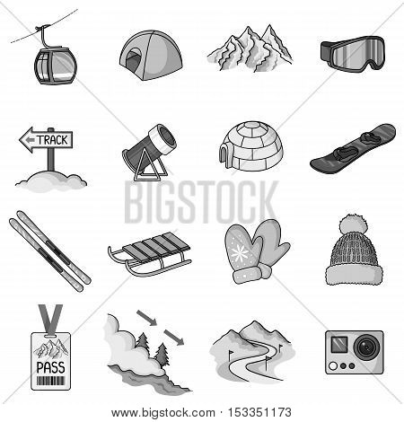 Ski resort set icons in monochrome style. Big collection of ski resort vector symbol stock