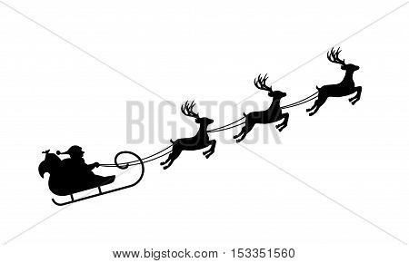 Isolated silhouette of Santa's sledge with reideers black on white