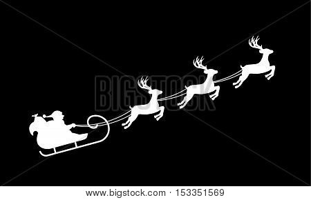 Isolated silhouette of Santa's sledge with reindeer white on black