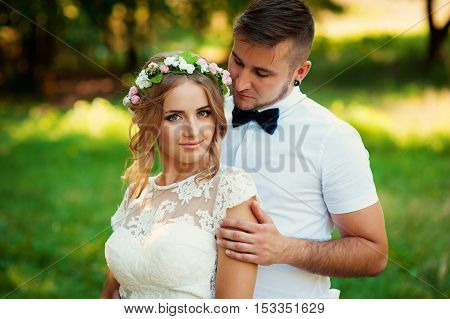 Bride And Groom At Wedding Day Walking Outdoors