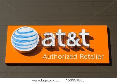 JACKSONVILLE, FLORIDA, USA - OCTOBER 23, 2016: An AT&T Mobility sign in Jacksonville. AT&T Mobility is the second largest wireless telecommunications provider in the United States and Puerto Rico.