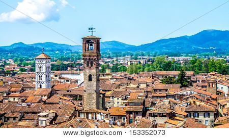 Aerial view of Lucca in Tuscany, Italy