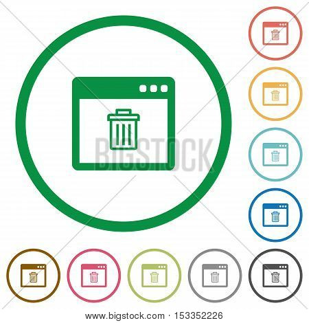 Application delete flat color icons in round outlines