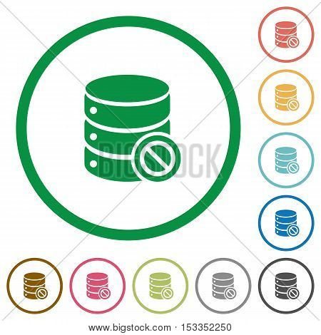 Disabled database flat color icons in round outlines