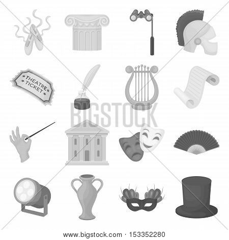 Theater set icons in monochrome style. Big collection of theater vector symbol stock