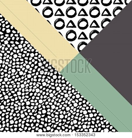 Abstract hand drawn geometric pattern circle triangle or background. Poster, card, textile, pattern desktop Wallpaper