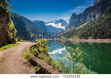 Stunning Dawn At Mountain Lake In Gosau, Alps, Austria