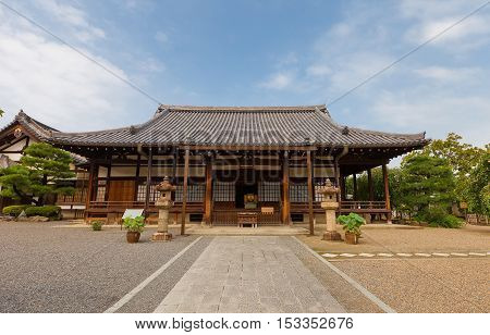 UJI JAPAN - JULY 27 2016: Jodoin Subordinate Temple on the grounds of Byodoin Temple in Uji city near Kyoto. Was founded in 15th c. Buddhist monk Eiku